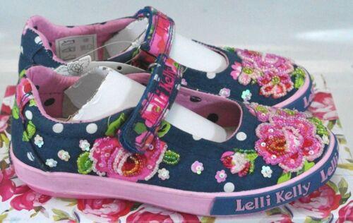 Girls Lelli Kelly Freya Blue Beaded Mary Jane LK4102 US10 UK 28 Retail $109