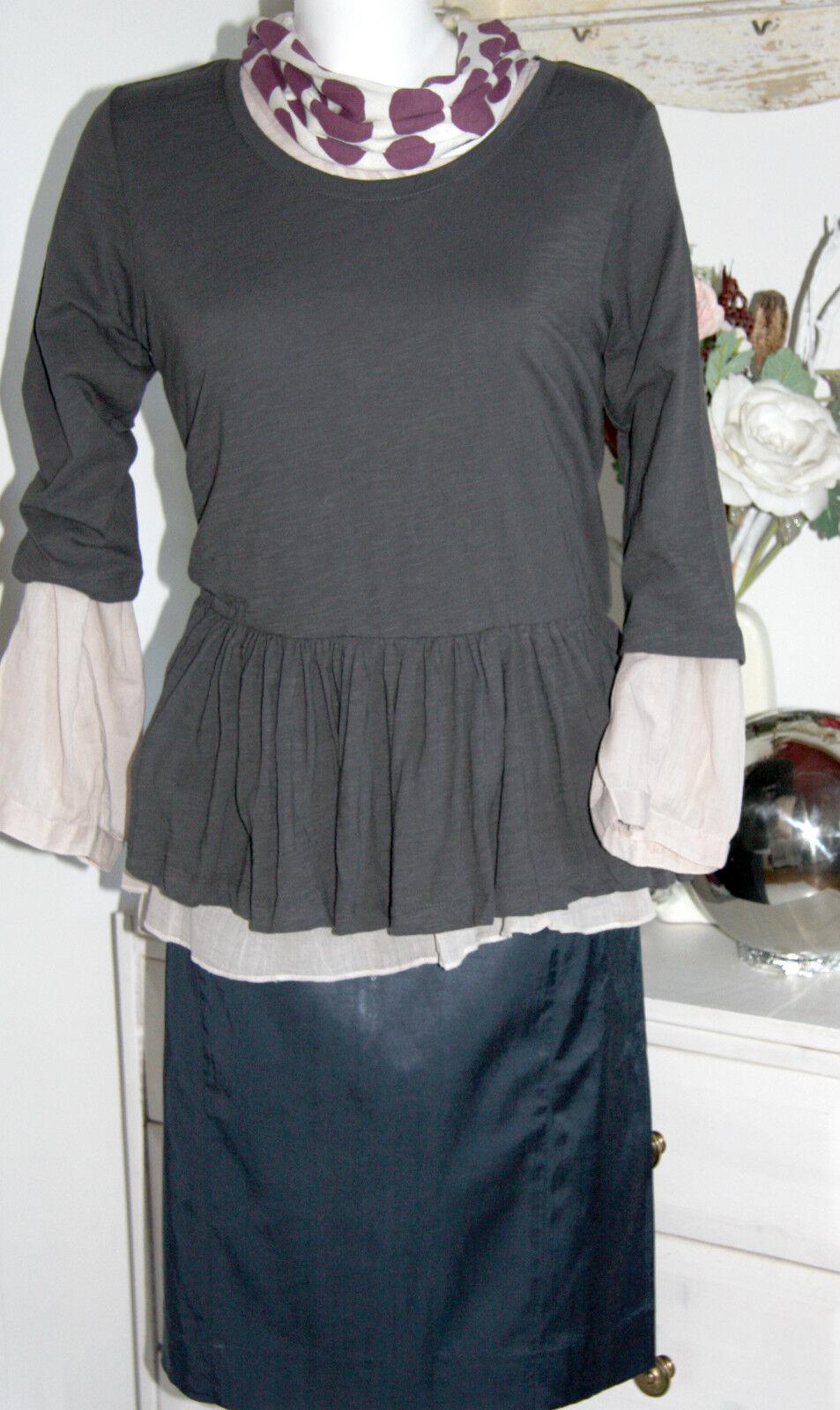 Van Deurs  Long-Tunika Shirt A-Linie Charcoal Größe  S M Neu