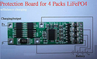 PCB Protection Board Balance Function for 4S 12V LiFePO4 Cell Battery max. 10A