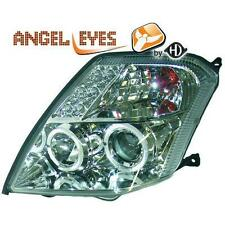 Coppia fari fanali anteriori TUNING CITROEN C2 2003-10 cromati anelli angel eyes