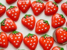 "100! Strawberry Flatback Resin Embellishments - 17mm/0.6"" - Red Strawberries"