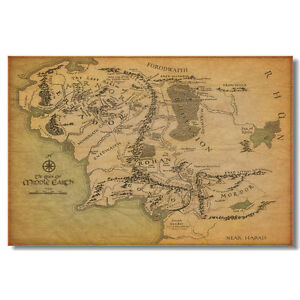 Details about Map Of Middle Earth Map The Lord Of The Rings Movie Silk  Poster 12x18 24x36 inch