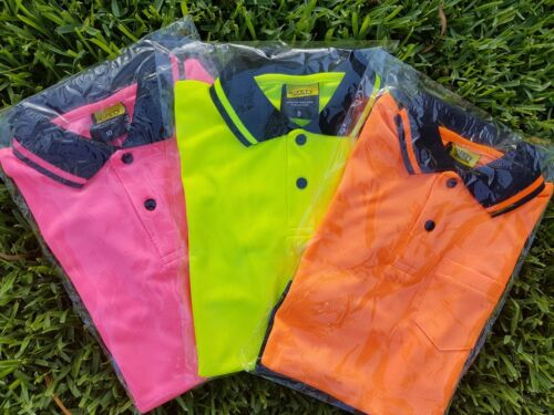 KIDS Hi Vis Safety Work Wear Polo Tshirt SS PINK YELLOW ORANGE 4,6,8,10,12,14