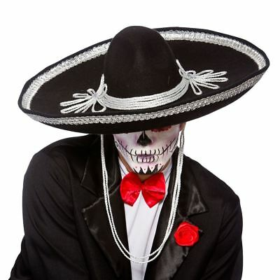Day Of The Dead Sombrero Mexican Halloween Mens Fancy Dress Costume Accessory