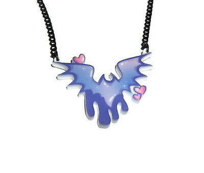 Bat Necklace Pastel Goth Cute Kawaii Laser Cut Jewellery Quirky Drippy Lilac