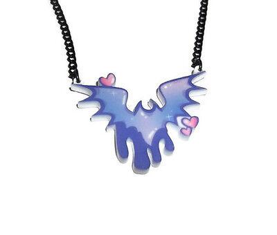 Bat Necklace Pastel Goth Cute Kawaii Laser Cut Jewellery Quirky Drippy Lilac