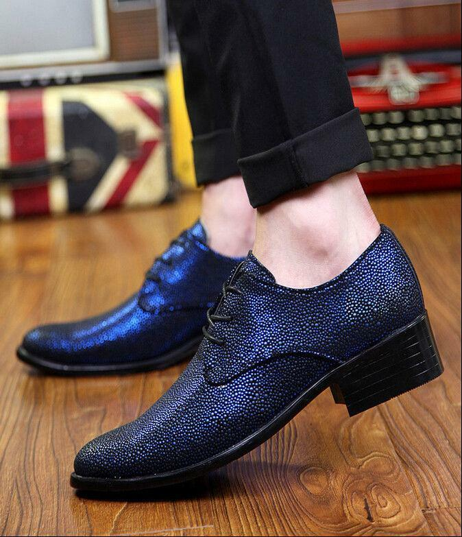Fashion Men Dress shoes Oxford Pointed Toe Lace-Up Business Formal Wedding Party