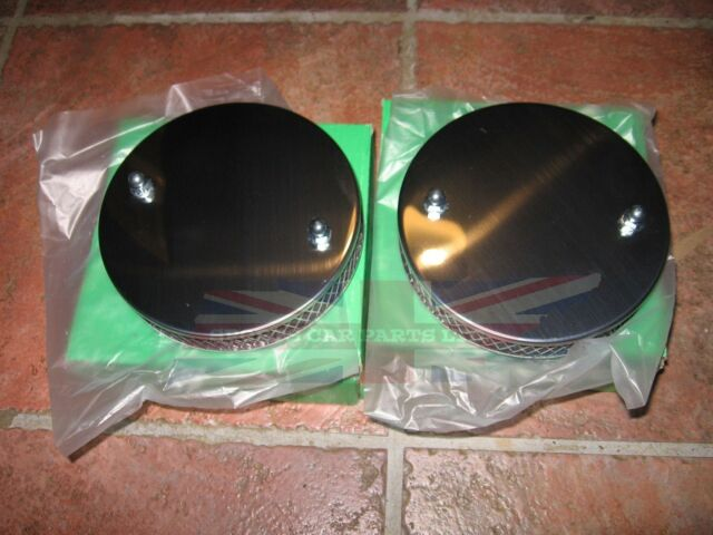 """New Pair of Chrome Pancake Sports Air Filters for 1 1/4"""" SU Triumph Spitfire"""
