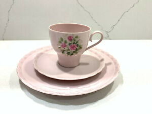 Vintage-Hutschenreuther-Germany-Porcelaine-ROSE-Pink-Set-Tea-Cup-Saucer-Plate