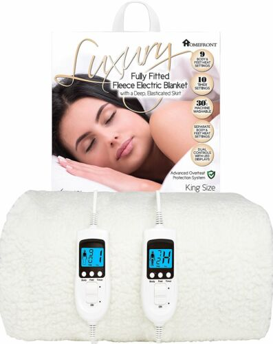 Homefront King Electric Blanket Size Heated Cover Washable Dual Control Fleece