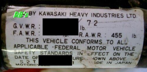 VIN tag Kawasaki  1973 S2a 350  Triple Headstock Decal