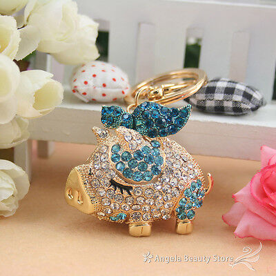Cute Lovely Butterfly Pig Crystal Key chain Keyring Handbag Charm Pendant Gift