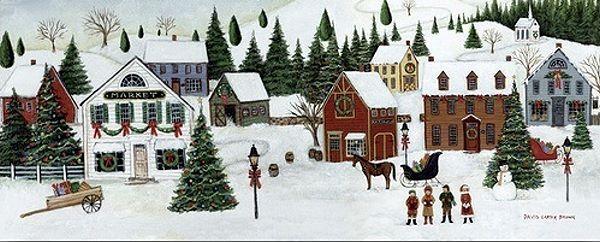 David CKunster braun Christmas Valley Village Keilrahmen-Bild Leinwand Weihnachten