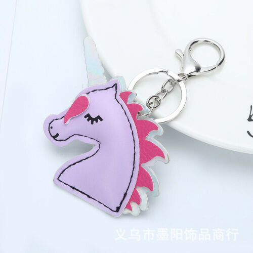 Cartoon Pink Unicorn PU Leather Key Chain Unicorn Key Ring Key Pendant
