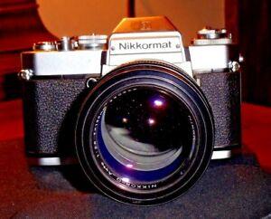 NIKKORMAT-EL-w-NIKON-NIKKOR-Q-AUTO-135-mm-LENS-1-2-8-290362-MADE-IN-JAPAN