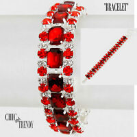 STUNNING RED & CLEAR CRYSTAL BRACELET RHINESTONE CRYSTAL FORMAL WEDDING CHIC