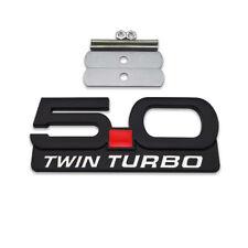 Black 50 Twin Turbo Front Grille Emblem Metal 50l V8 Grill Badge For Mustang