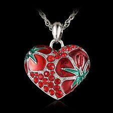 New Fashion Heart Flower Crystal Rhinestone Silver Charm Chain Pendant Necklace
