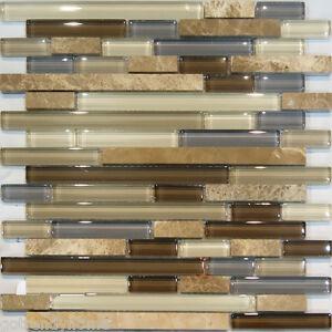 marble stone amp brown beige cream linear glass mosaic tile backsplash
