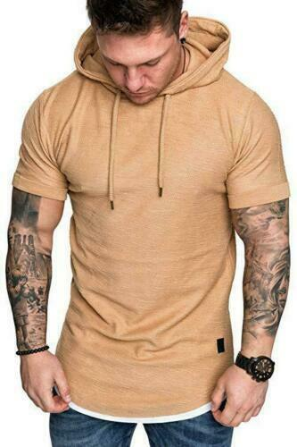Trendy Mens Hooded Tops Short Sleeve T-shirt Solid Shirts Basic Sport Tee Blouse