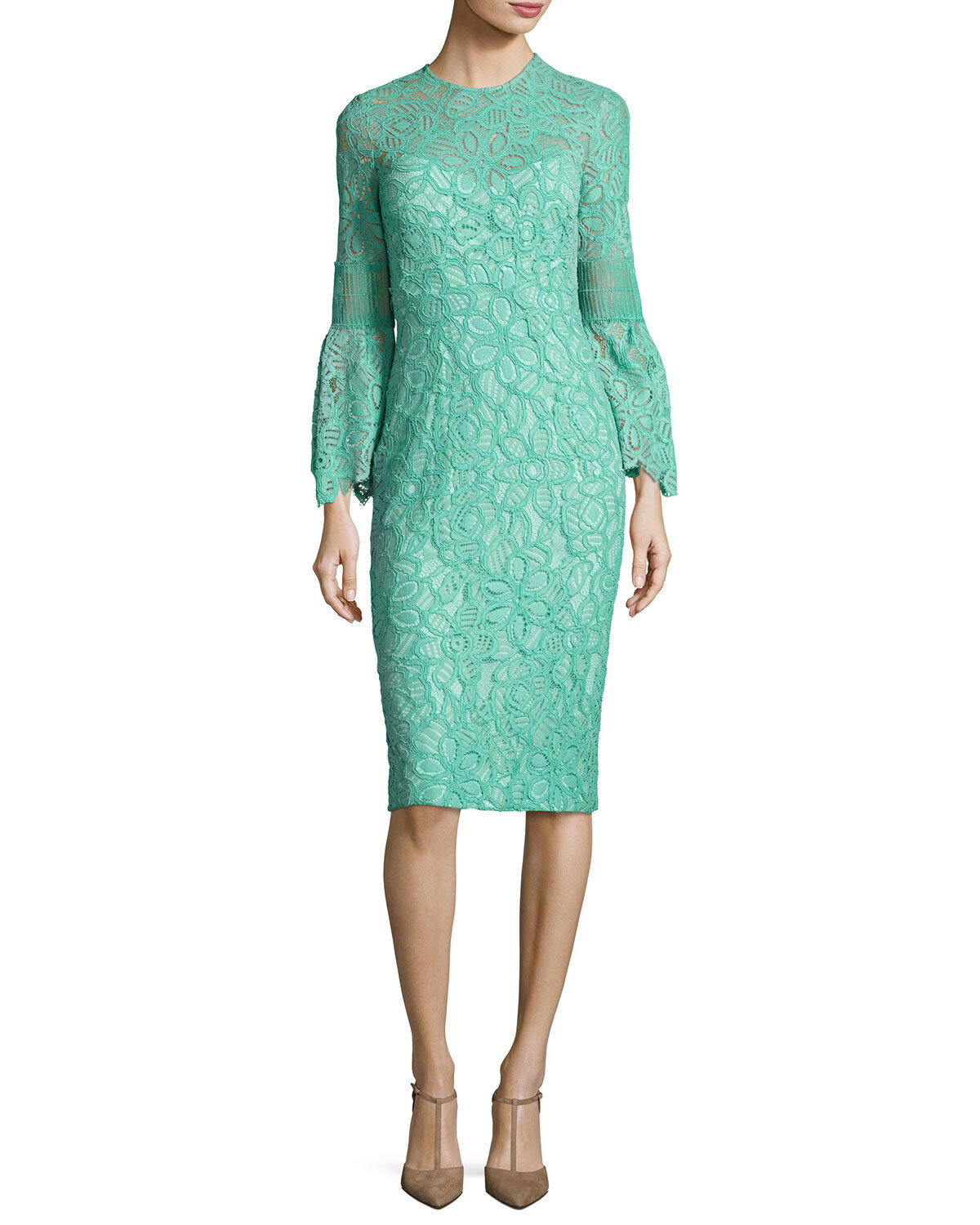 NEW LELA pink Floral Corded Lace Bell Flounce Sleeve Fitted Dress Mint 10