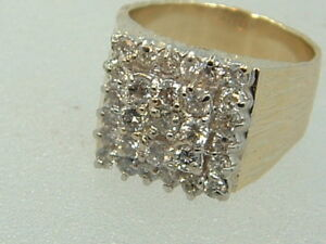 14k Men S Diamond Ring 14 Karat Gold 2 0 Carat Masculine Cluster Diamond Ring Ebay