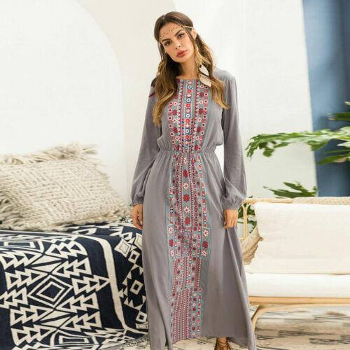 Gown Islamic Abaya Vintage Jilbab Maxi Dress Dubai Boho Muslim Robe Kaftan Women