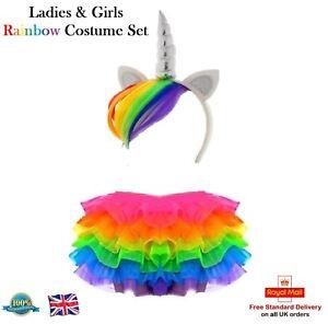Ladies-amp-Girls-RAINBOW-TUTU-COSTUME-Unicorn-My-Little-Pony-Dash-Fancy-Dress-UK