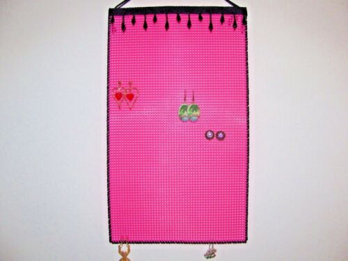 * Hanging Earring Holder Organizer   BLACK BEADS on HOT PINK