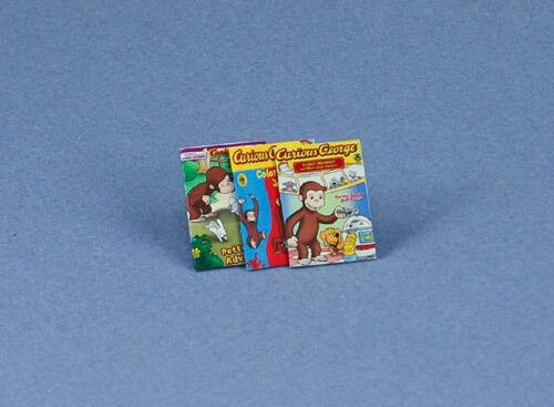 Adorable Set of 3 Dollhouse Miniature Curious George Faux Books #ACH113