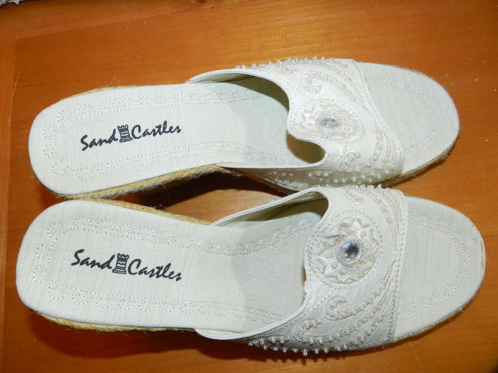 WOMENS BEIGE SLIP ON SANDCASTLE WEDGE SANDALS SHOES = SANDCASTLE ON = SIZE 9 sequin beaded 977f5d
