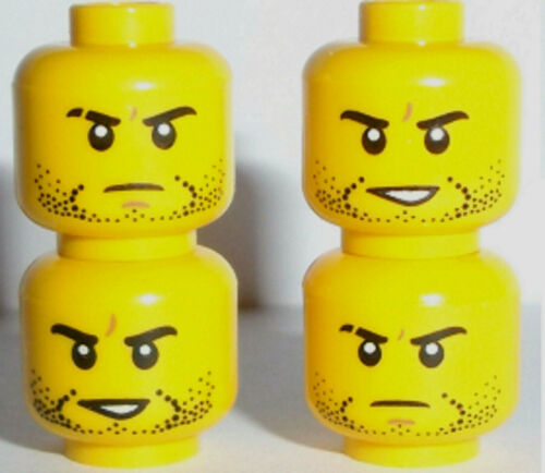 Lego Minifig Heads x 4 Yellow Dual Sided Heads with Stubble