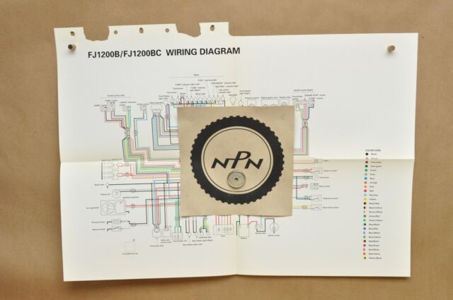 Vtg 1991 Yamaha Fj1200 B Fj1200 Bc Factory Color Schematic