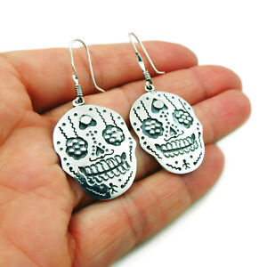Mexican-Day-of-the-Dead-925-Sterling-Silver-Sugar-Skull-Earrings