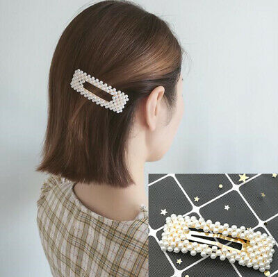 Women Pearl Metal Hair Clip Hairband Comb Bobby Pin Barrette Hairpin Headdress