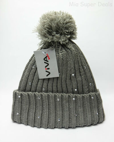 Chic VIVA snow Damenmütze Weihnachts Wintermütze Mütze Bommel Strickmütze Strass