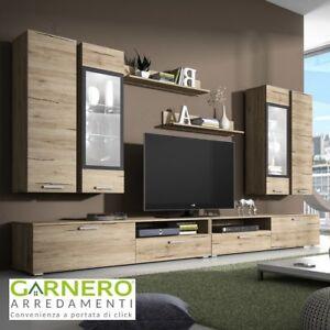 Dettagli su Parete attrezzata GLAMOUR Gihome® legno mobile soggiorno  salotto tv televisione