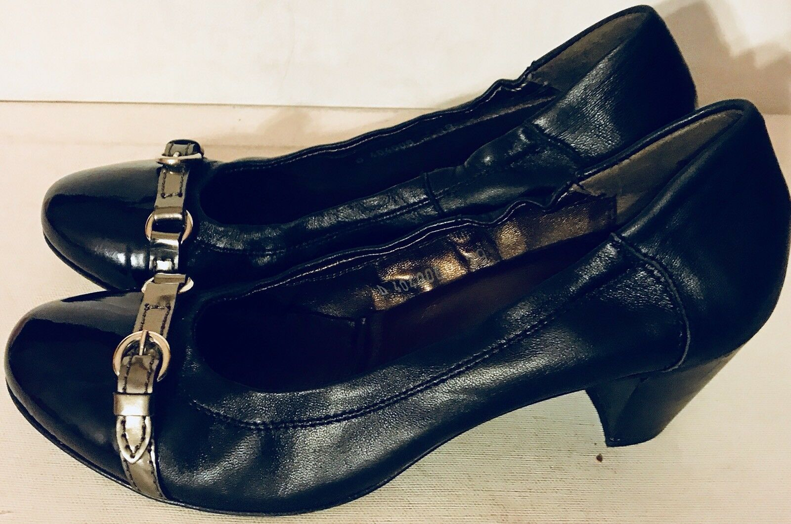 AGL Attilio Giusti Leombruni Kristin Black Block Heel Pumps Patent Patent Pumps Leather Sze 8 a25027