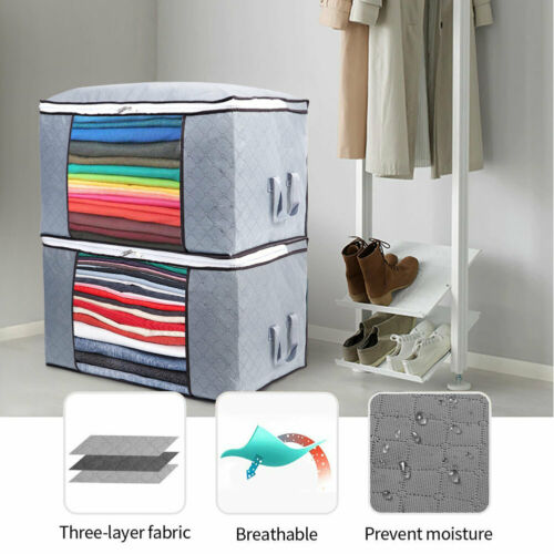 Large Underbed Clothes Storage Bags Ziped Organizer Wardrobe Cube Closet Boxes