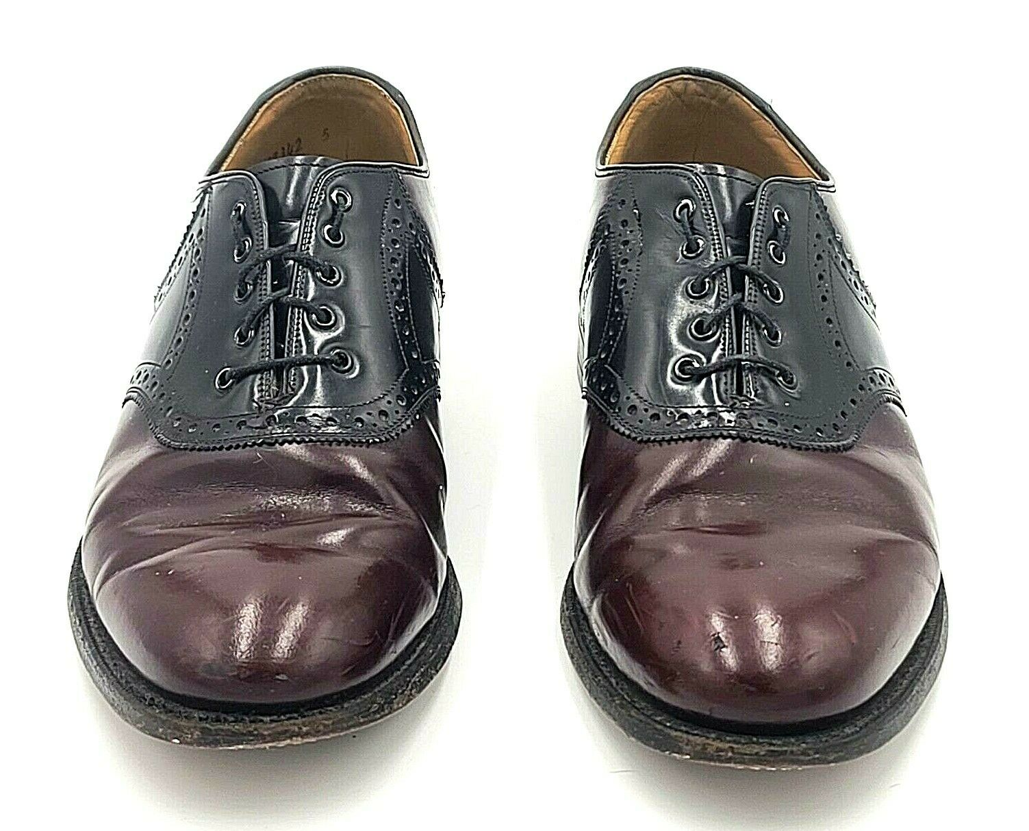 Johnston Murphy Shoes Size US 9.5 Oxford Saddle Two Tone Black Burgundy Leather