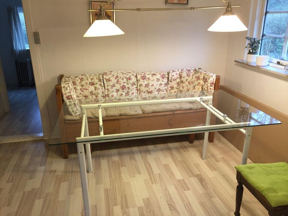 Spisebord, Glas/ hvidlakeret stål, b: 90 l: 160