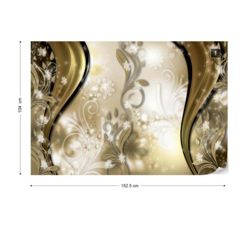 Luxury Floral Design Gold Photo Wallpaper Wall Mural Fleece Easy-Install Paper
