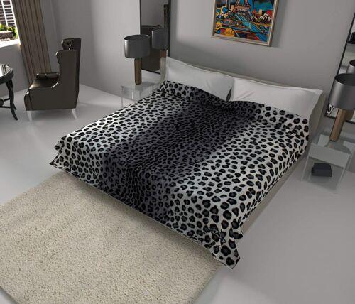 Solaron Classic Leopard Korean Thick Mink Soft Plush King Size Blanket Black