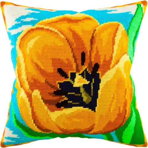 "Needlepoint//Tapestry Pillow Cover DIY Kit /""Yellow Tulip/"""
