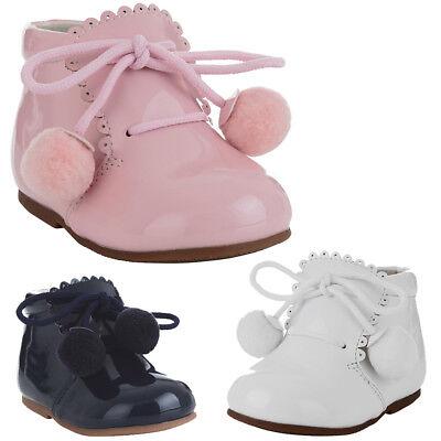 BABY GIRL HARD SOLED ANKLE BOOTS POM POM /& GLITTER