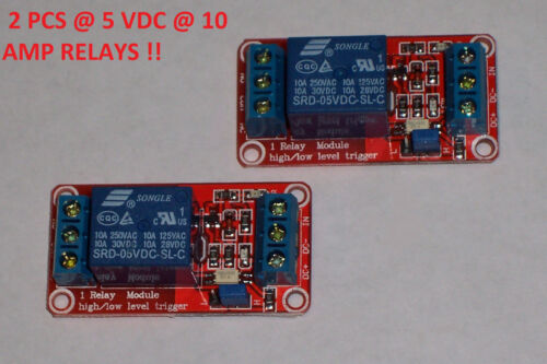 2 PCS  5VDC@10 AMPS 1 CHANNEL HIGH OR LOW LEVEL INPUT OPTO RELAY BRD USA SHIP!