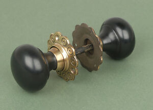 Pair Of Solid Ebony Bun Door Knobs / Handles With Solid Brass Backplate