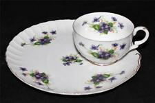 Norcrest Fine China SWEET VIOLETS Snack Tray & Cup Set C-160-A