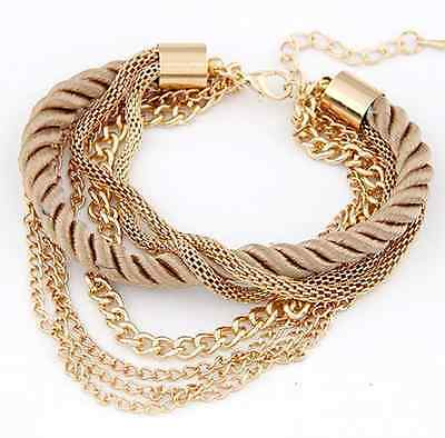 Women's Handmade Gold Chain Braided Rope Multilayer Bracelet Bangle Chain Style