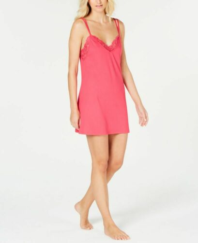 Linea Donatella Women/'s Lace-Trimmed Knit Chemise Nightgown M Hot Pink